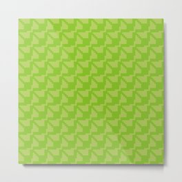 Geometric green pixel pattern Metal Print