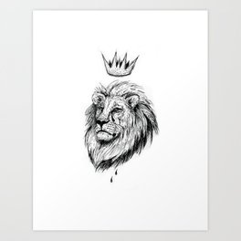 Cecil the Lion Black and White Art Print