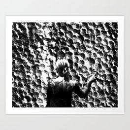 woman drinking a glass of wine on the moon Art Print