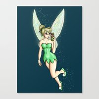 tinker bell Canvas Prints featuring Tinker Bell Selfie by Hungry Designs