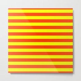 Super Bright Neon Orange and Yellow Horizontal Beach Hut Stripes Metal Print