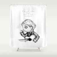 kurt rahn Shower Curtains featuring Kurt Plush by Ludwig Van Bacon