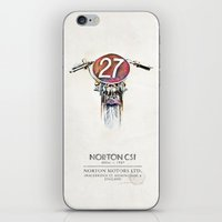 motorbike iPhone & iPod Skins featuring Norton CS1 1927 -Motorbike by istraille