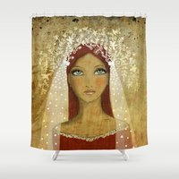 bride Shower Curtains featuring the bride by Agnes Laczo