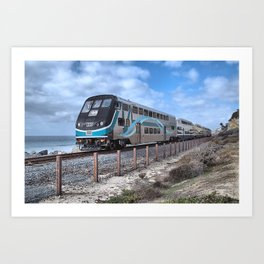METROLINK TRAIN. SAN CLEMENTE, CALIFORNIA. © 2014 J. Montague. Art Print