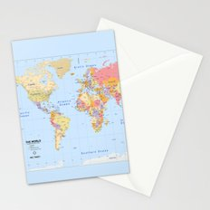 Political Map of The World - I Stationery Cards