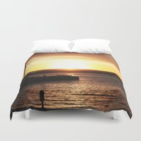san diego Duvet Covers featuring San Diego Sunset by Tdrisk46