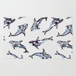 Watercolor killer whales Rug