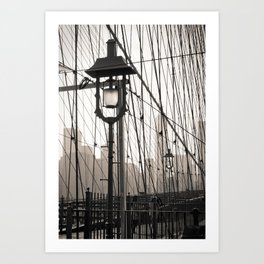 New York City's Brooklyn Bridge - Black and White Photography Art Print