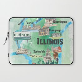 Illinois USA State Illustrated Travel Poster Favorite Tourist Map Laptop Sleeve