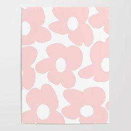 Large Baby Pink Retro Flowers on White Background #decor #society6 #buyart Poster