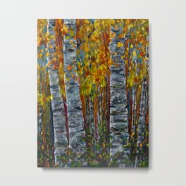 Autumn Aspen Trees with a Palette Knife Metal Print