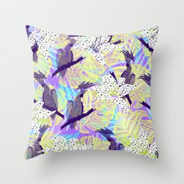 Tropical birds in the jungle Throw Pillow