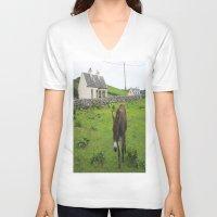 irish V-neck T-shirts featuring Irish Cottage by Kim Ramage
