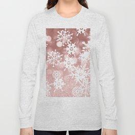 Winter white rose gold snowflakes glitter bokeh Long Sleeve T-shirt