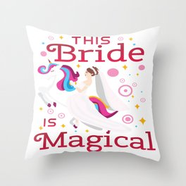 Funny Bride To Be Bridesmaid Unicorn Party Gift Throw Pillow