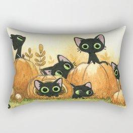 Black cats and pumpkins Rectangular Pillow