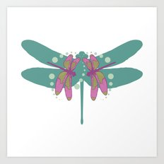 pattern with dragonflies 4 Art Print