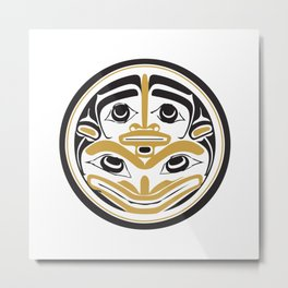 Northwest Pacific American Native Totem In Gold No. 4 Metal Print