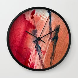 Blushing [2]: a vibrant, minimal abstract in pink, red, and blue details Wall Clock