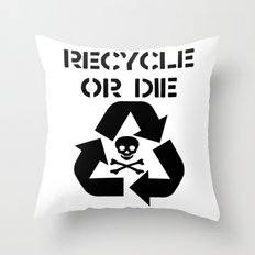 Recycle Black Throw Pillow