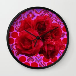 CLUSTER OF RED ROSES ON  RED-VIOLET ABSTRACT Wall Clock