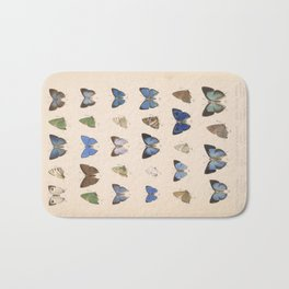 Vintage Hand Drawn Scientific Illustration Insects Butterfly Anatomy Colorful Wings Bath Mat
