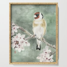 Goldfinch in blossom on green Serving Tray