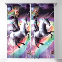 Space Cat Riding Unicorn - Laser, Tacos And Rainbow Blackout Curtain