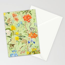 Vintage & Shabby Chic - Chinoiserie Exotic Monkeys And Tropical Flowers Jungle Stationery Cards