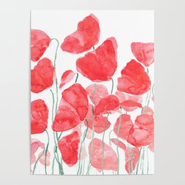 abstract red poppy field watercolor Poster