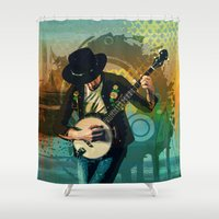 banjo Shower Curtains featuring Banjo Man by Peter Awax