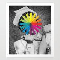 nurse Art Prints featuring NURSE by Estera Lazowska
