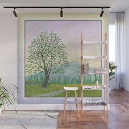 OREGON ASH TREE IN SPRINGTIME VINTAGE PENCIL COLOR DRAWING Wall Mural