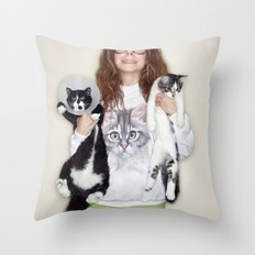 Crazy Cat Lady Photograph Throw Pillow