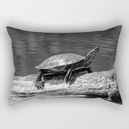 Painted Turtle on a Log (B&W) - Photography Rectangular Pillow