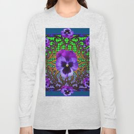 DECORATIVE PURPLE PANSIES TEAL ART Long Sleeve T-shirt