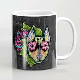 Min Pin Day of the Dead Miniature Doberman Pinscher Sugar Skull Dog Coffee Mug