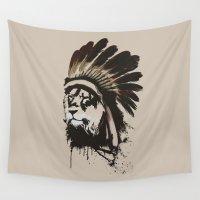 headdress Wall Tapestries featuring Lion Headdress by Alyn Spiller