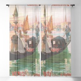 1900 Venice, Italy Travel Advertisement Poster by D'Ales Sheer Curtain