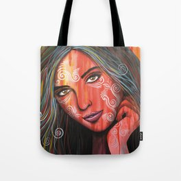 Abstract art portrait face woman girl painting ... Memories Tote Bag