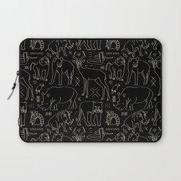 African Animal Mudcloth in Black + Bone Laptop Sleeve