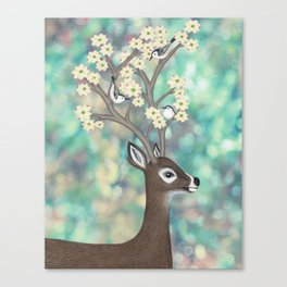white tailed deer, white breasted nuthatches, & dogwood blossoms Canvas Print