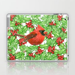 Cardinal and holly berry watercolor pattern Laptop & iPad Skin
