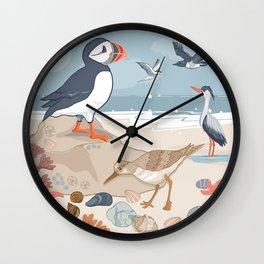Coastal Birds By The Sea Wall Clock