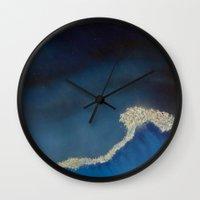 the last unicorn Wall Clocks featuring The Last Unicorn : Last Wave  by Christopher Chouinard