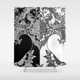 Unity of Halves - Life Tree - Rebirth - Black White Shower Curtain