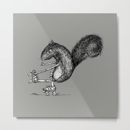 Ride On Squirrel_grey Metal Print