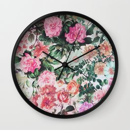 Vintage green pink lavender country floral Wall Clock