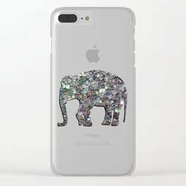 Sparkly colourful silver mosaic Elephant Clear iPhone Case